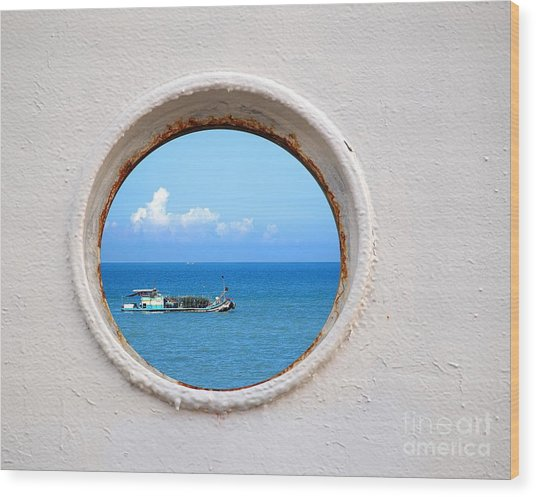 Chinese Fishing Boat Seen Through A Porthole Wood Print