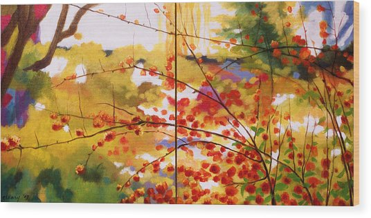 Chinese Garden Grace Wood Print by Melody Cleary