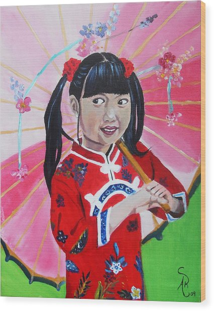Chinese Girl Wood Print by Andrea Realpe