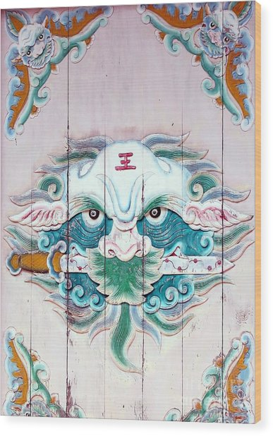 Chinese House God Wood Print