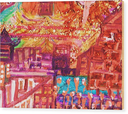 Chinese If You Please New Year Wood Print by Anne-Elizabeth Whiteway