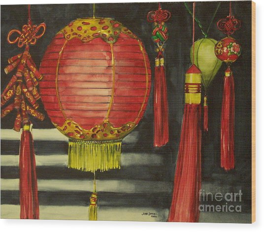 Chinese Lanterns No. 1 Wood Print