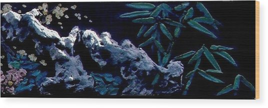 Chinese Mural Wall Tile Three Wood Print by Kathy Daxon