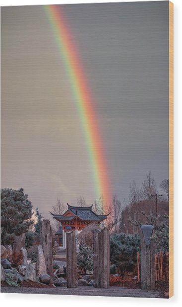 Chinese Reconciliation Park Rainbow Wood Print