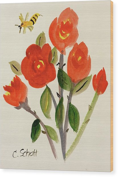 Chinese Red Rose With Bee Wood Print