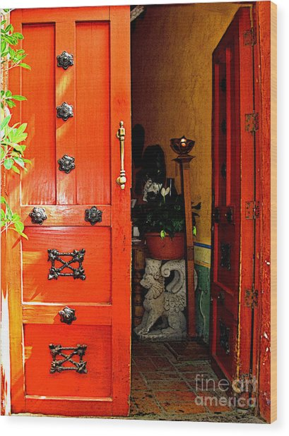 Chinese Red Shop Door Wood Print by Mexicolors Art Photography