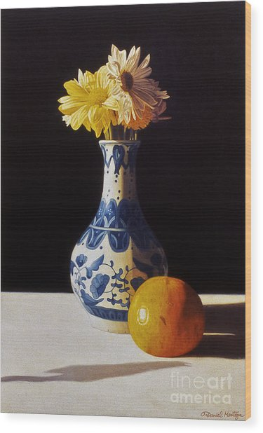Chinese Vase And Orange Wood Print by Daniel Montoya