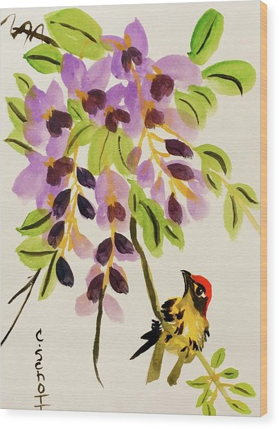 Chinese Wisteria With Warbler Bird Wood Print