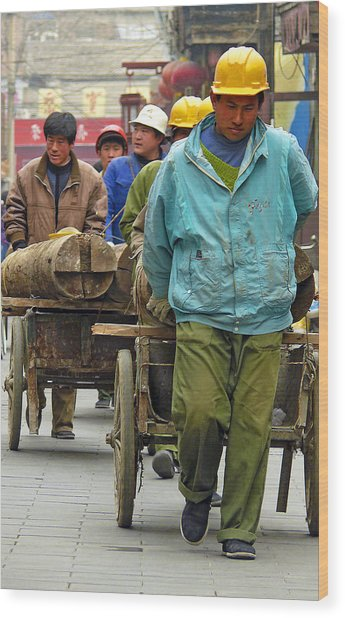 Chinese Workers Wood Print