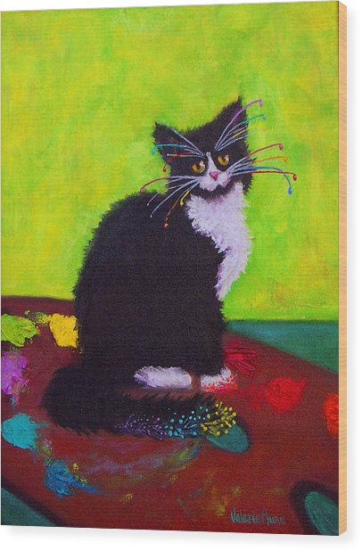 Ching - The Studio Cat Wood Print by Valerie Aune