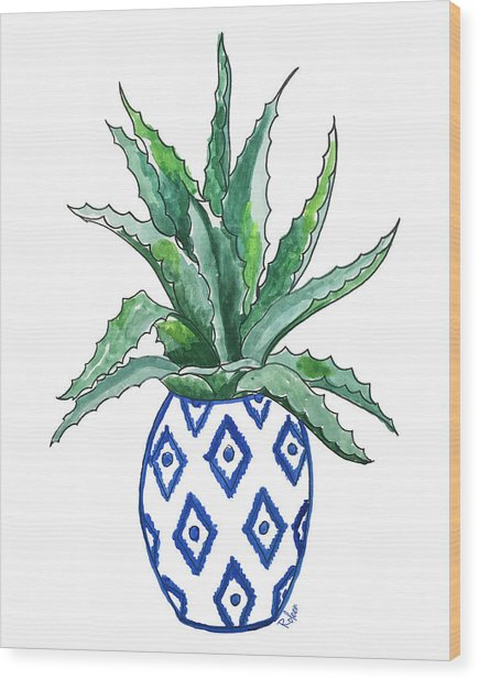 Chinoiserie Cactus Wood Print