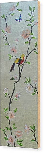 Chinoiserie - Magnolias And Birds #1 Wood Print