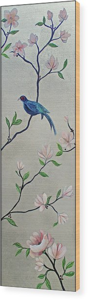 Chinoiserie - Magnolias And Birds #4 Wood Print