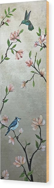 Chinoiserie - Magnolias And Birds Wood Print
