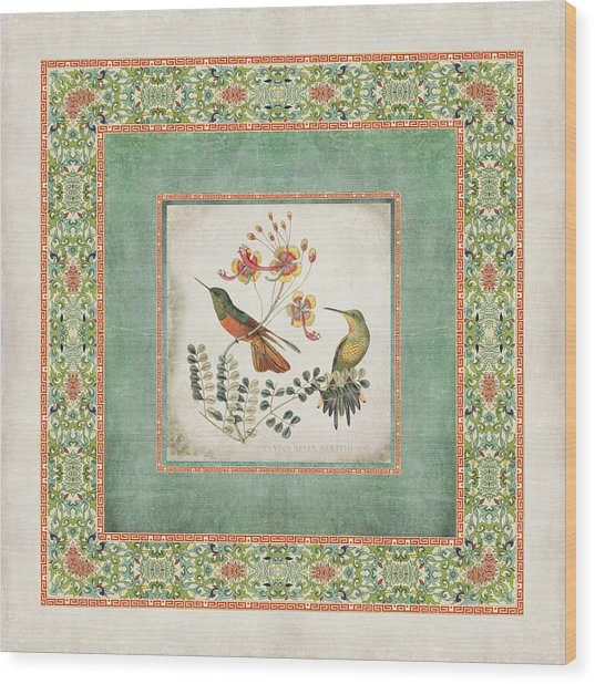 Chinoiserie Vintage Hummingbirds N Flowers 1 Wood Print