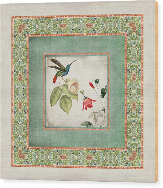 Chinoiserie Vintage Hummingbirds N Flowers 2 Wood Print