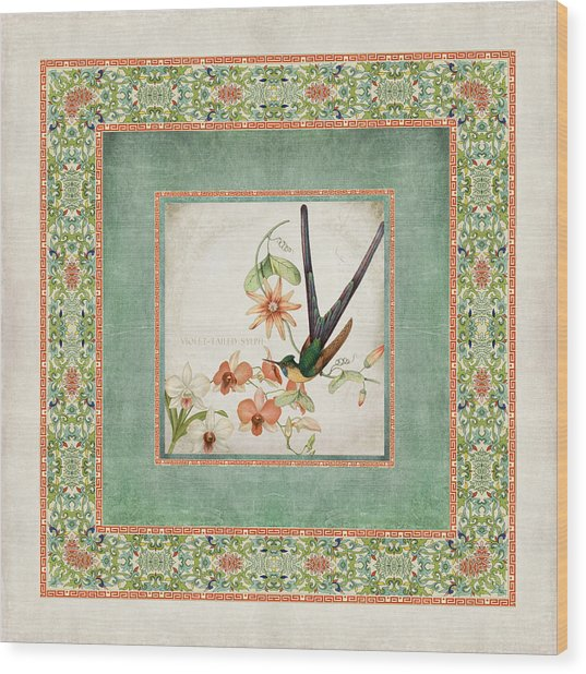 Chinoiserie Vintage Hummingbirds N Flowers 3 Wood Print