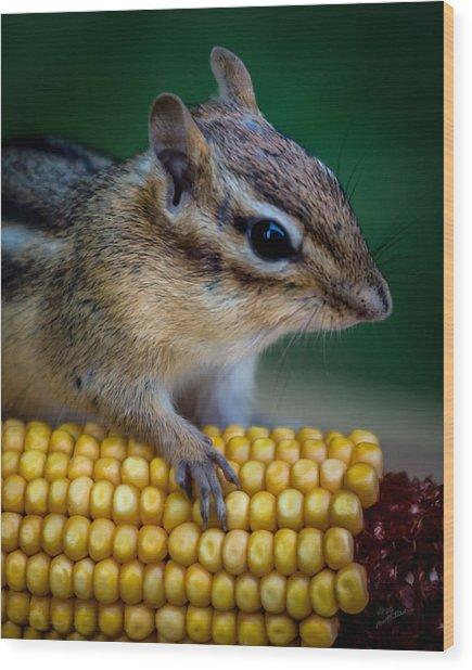Chipmunk Goes Wild For Corn Wood Print