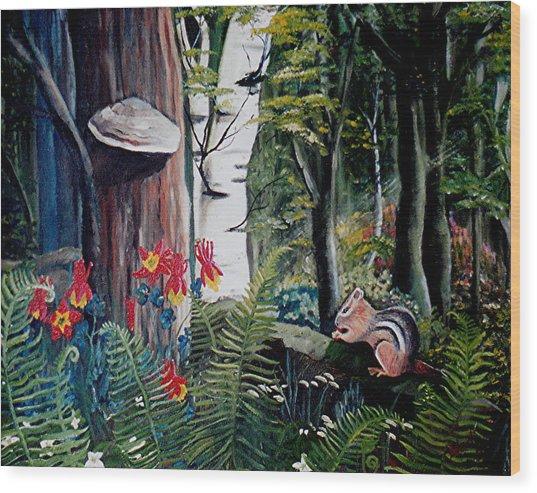 Chipmunk On A Log Wood Print