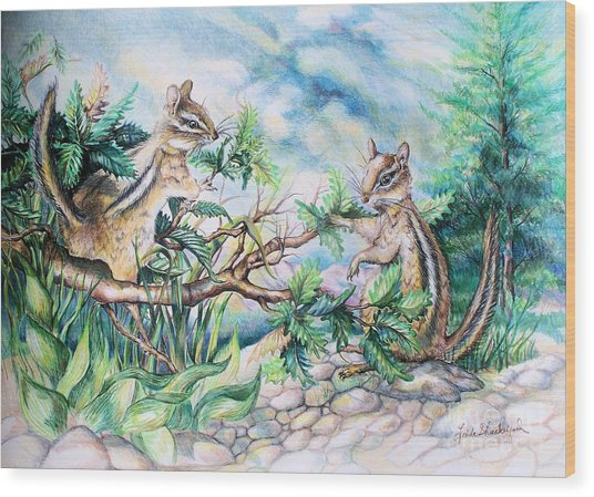 Chipmunks Wood Print