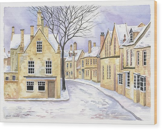 Chipping Campden In Snow Wood Print