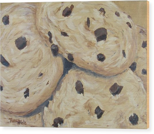 Wood Print featuring the painting Chocolate Chip Cookies by Nancy Nale