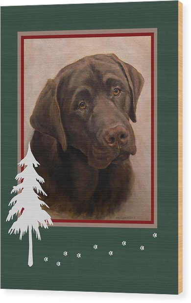 Chocolate Labrador Portrait Christmas Wood Print