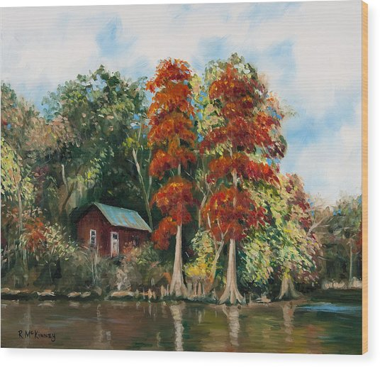 Choctawhatchee River Camp Wood Print