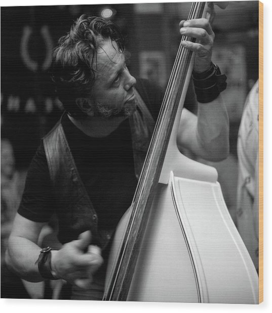 Chops On Bass Wood Print by Chad Schaefer