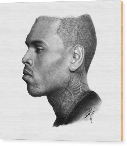 Chris Brown Drawing By Sofia Furniel Wood Print