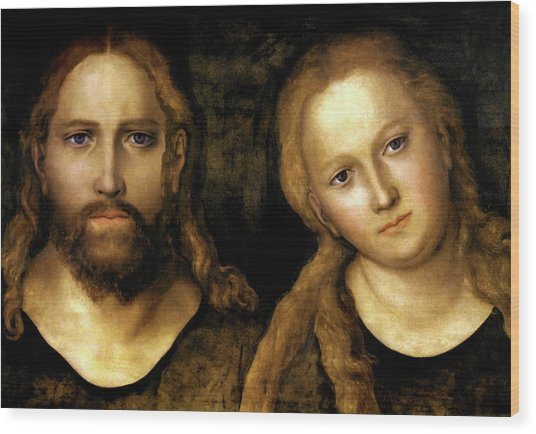 Christ And Mary Wood Print by Lucas Cranach the Elder
