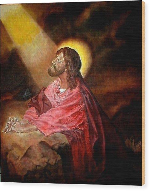 Christ At Gethsemane Wood Print by G Cuffia