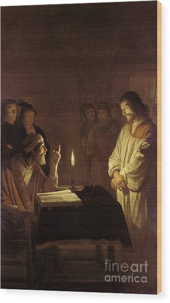 Christ Before The High Priest Wood Print