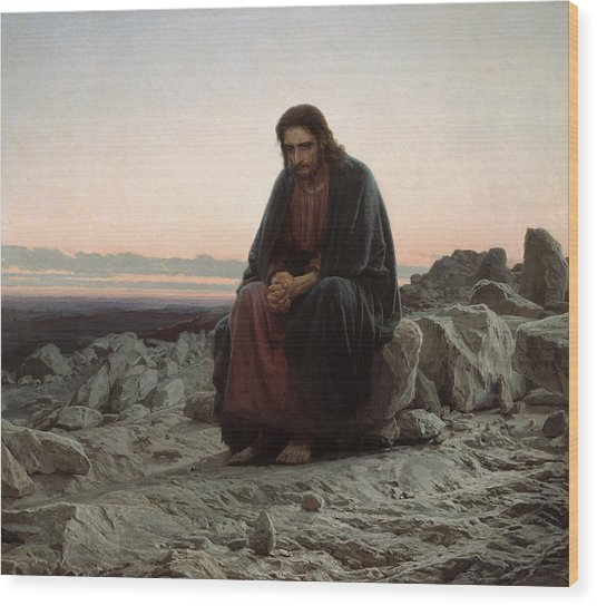 Christ In The Desert Wood Print