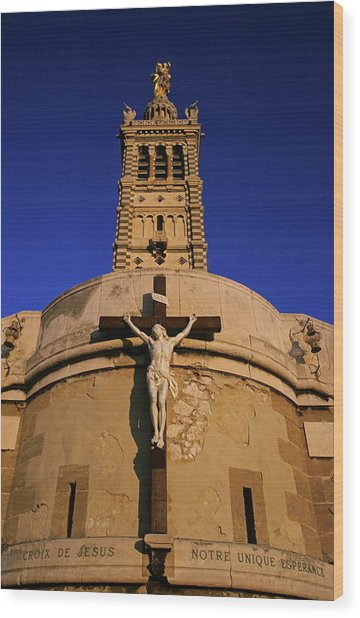 Christ On The Cross Outside The Nortre Dame De La Garde Wood Print by Sami Sarkis
