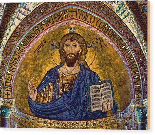 Christ Pantocrator Mosaic Wood Print