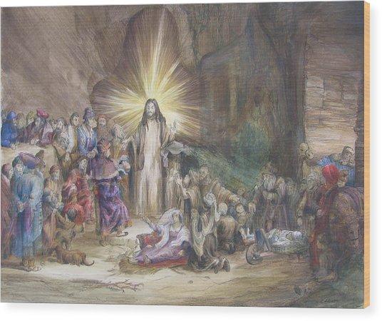 Christ Preaching          Wood Print