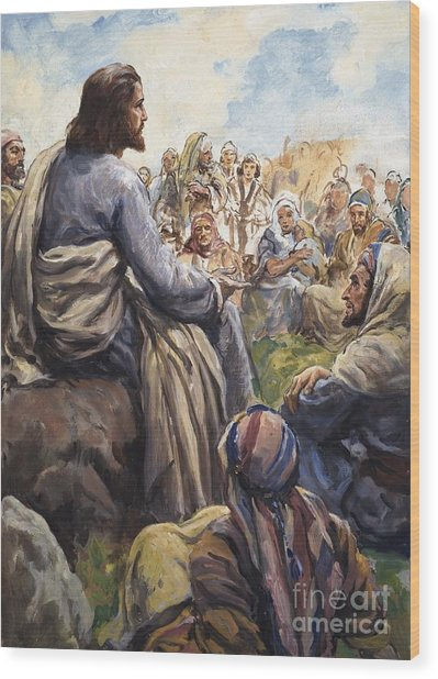 Christ Teaching Wood Print