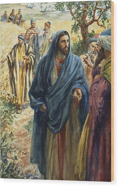 Christ With His Disciples Wood Print