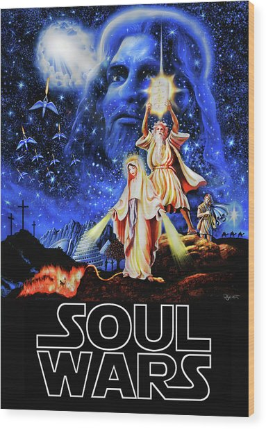 Christian Star Wars Parody - Soul Wars Wood Print