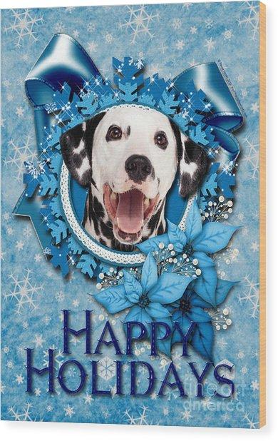 Christmas - Blue Snowflakes Dalmatian Wood Print by Renae Crevalle