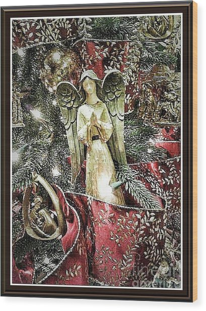 Christmas Angel Greeting Wood Print