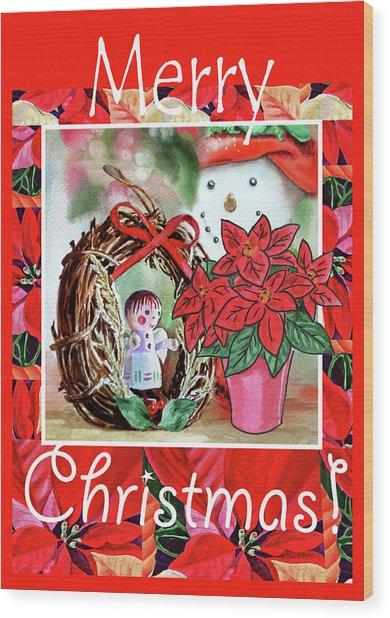 Christmas Angel Poinsettia And Snowman Wood Print