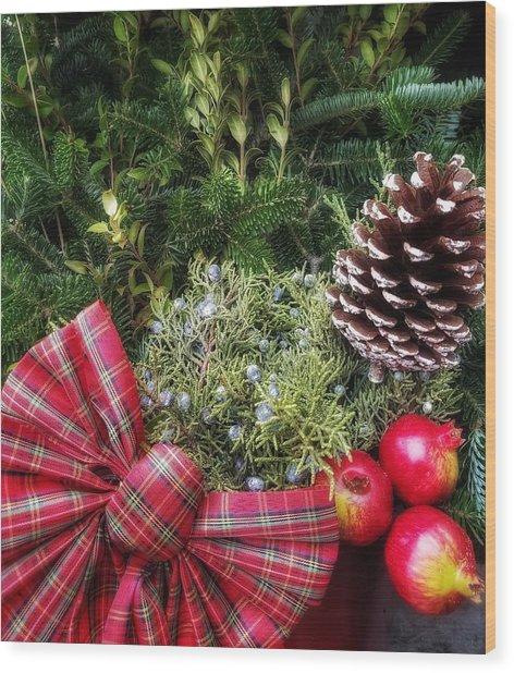 Christmas Arrangement Wood Print
