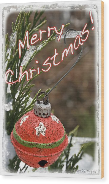 Christmas Bell Ornament Wood Print