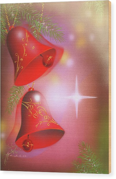 Christmas Bells Wood Print