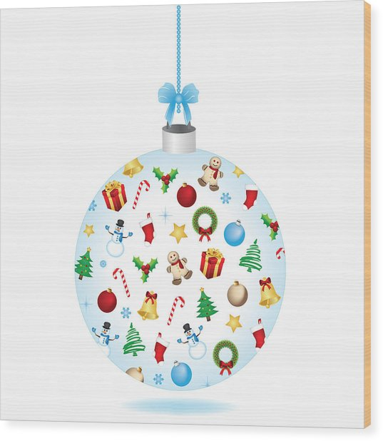 Christmas Bulb Art And Greeting Card Wood Print