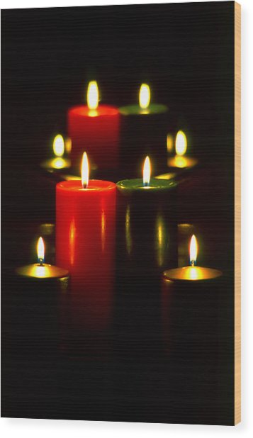Christmas Candles 5 Wood Print by Steve Ohlsen