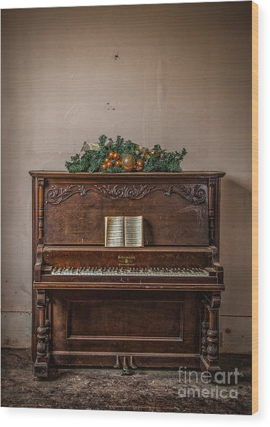 Wood Print featuring the photograph Christmas Card With Piano In Old Church by T Lowry Wilson