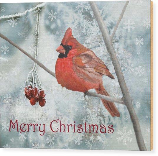 Christmas Cardinal Wood Print